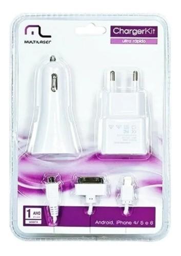 Kit De Carregador 3 Em 1 Micro USB Multilaser CB068