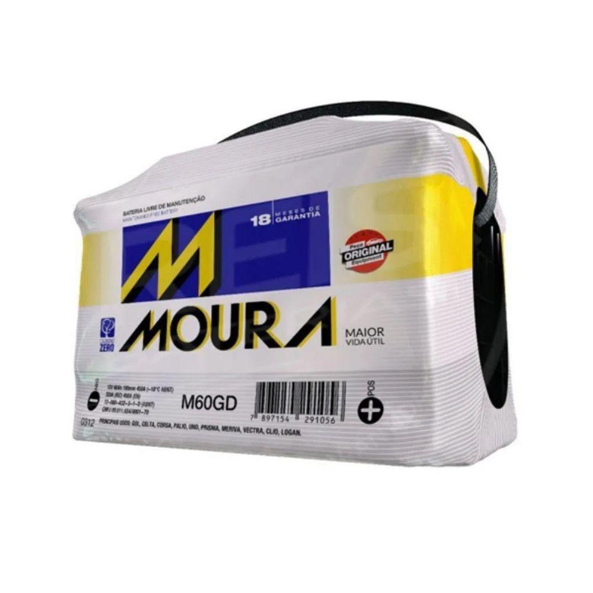Bateria Moura 60Ah M60GD Original de Montadora