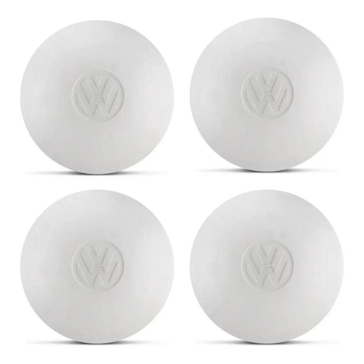 Jogo 4 Calotas Fusca Ferro Branca Com Logo - Liquidação