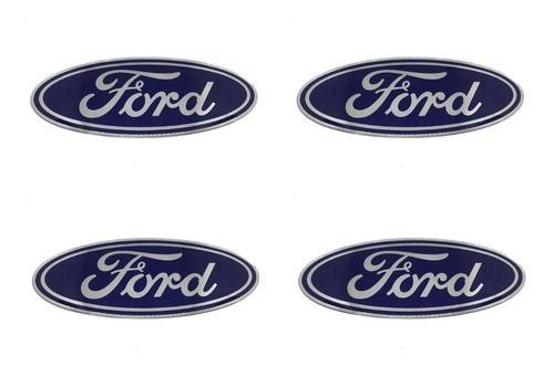 Jogo Emblema Adesivo Calota Ford Azul Oval Grande 48mm