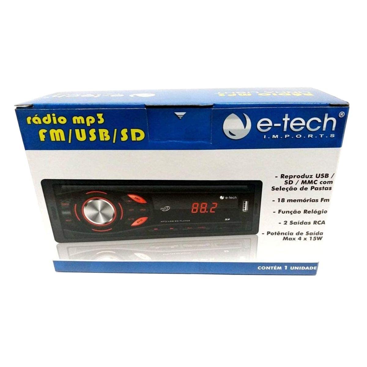 Radio Automotivo Mp3 Fm Usb Sd Bt -s/ Bluetooth E-tech Light