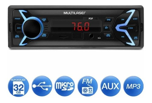 Radio Automotivo Multilaser Mp3 USB + Pen Drive 8gb