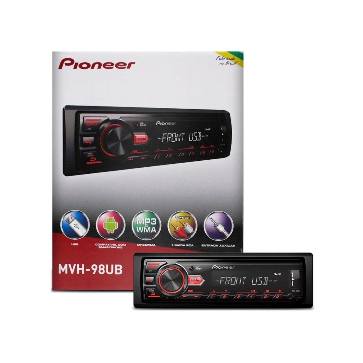 Som Automotivo Pioneer MVH-98UB Com USB Preto