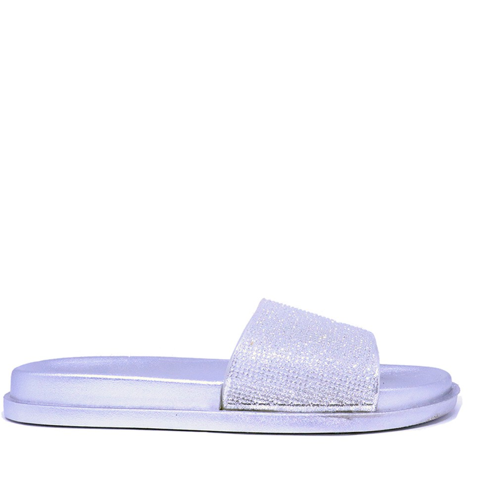 Chinelo Martinez slide prata strass