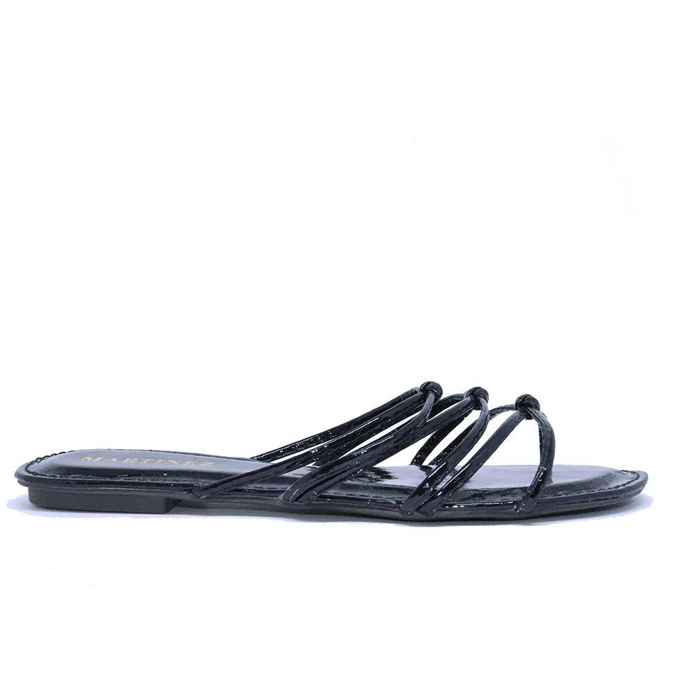 Rasteira chinelo tiras com nó preto