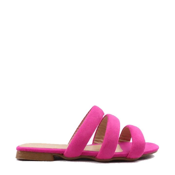 Rasteira com tiras salto baixo Pink