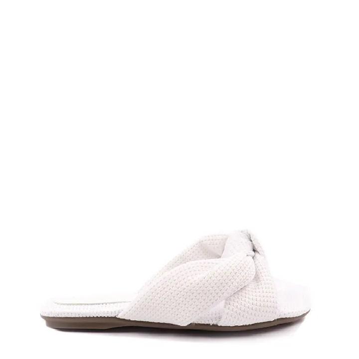 Rasteira flat fluffly laço de nó Branco