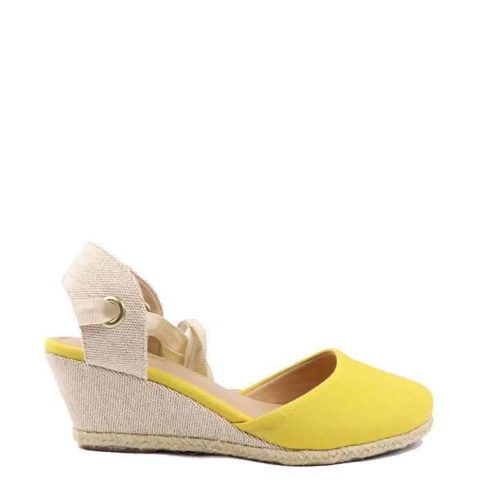 Sandália anabela espadrille amarração amarela