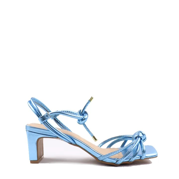 Sandália Celeste em nó metalizada tiras