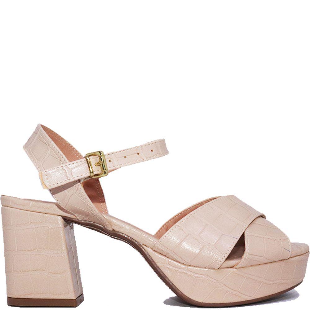 Sandália meia pata salto bloco croco amendoa