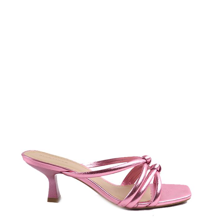Sandália mule salto taça médio metalizado Rosa