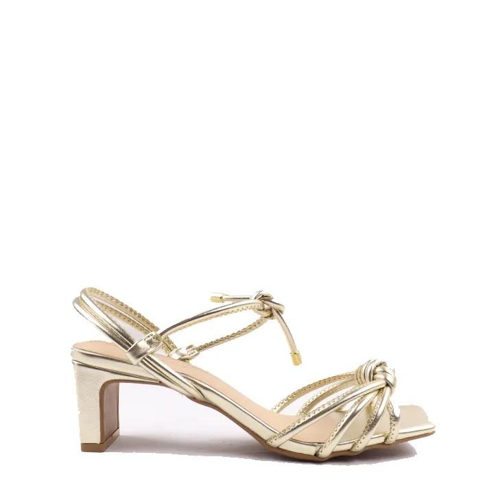 Sandália Ouro em nó metalizada tiras