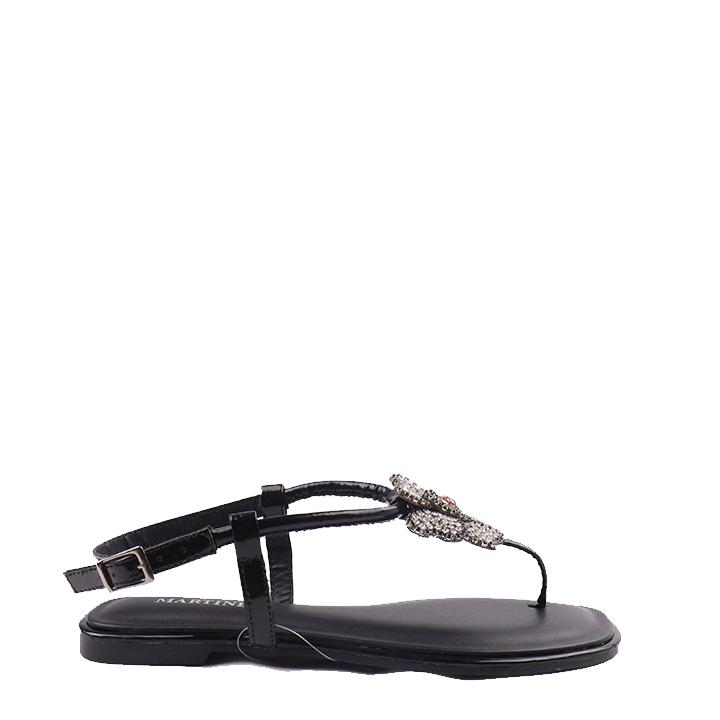 Sandália rasteira com flor em strass na tira