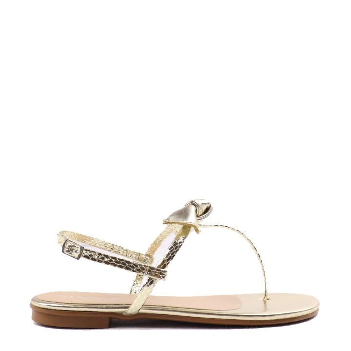 Sandália rasteira com laço