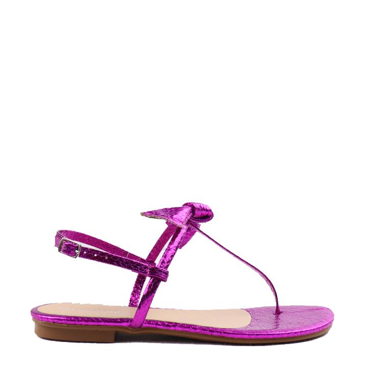 Sandália rasteira com laço Pink