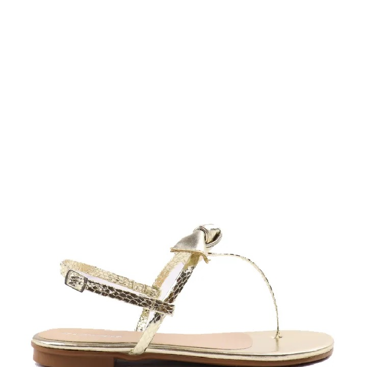 Sandália rasteira com laço Ouro