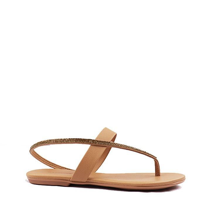 Sandália rasteira curva strass