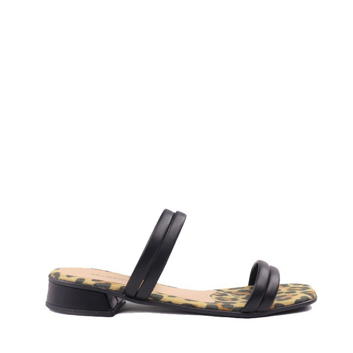 Sandália rasteira onça tira preto
