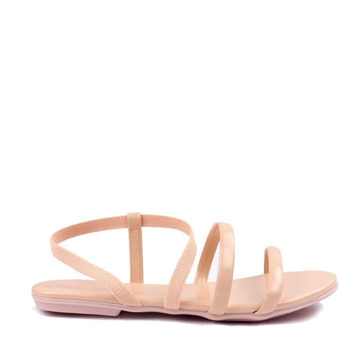 Sandália rasteira verniz elástico Quartzo
