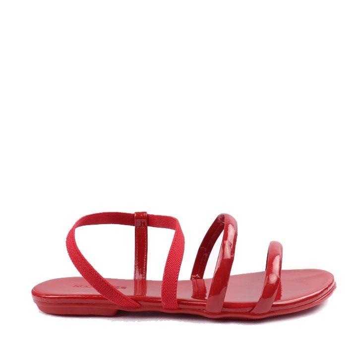 Sandália rasteira verniz elástico Scarlet