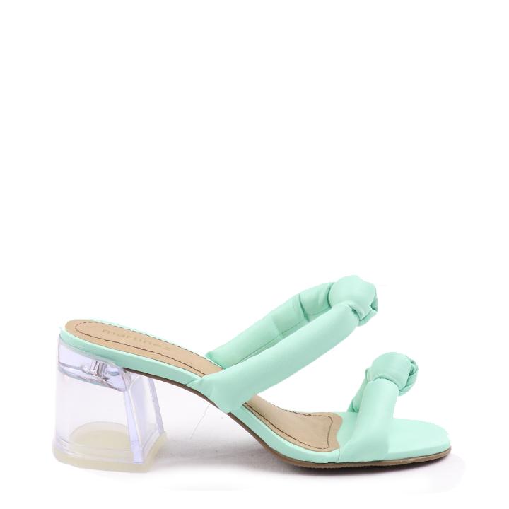Sandália salto bloco cristal fluffy