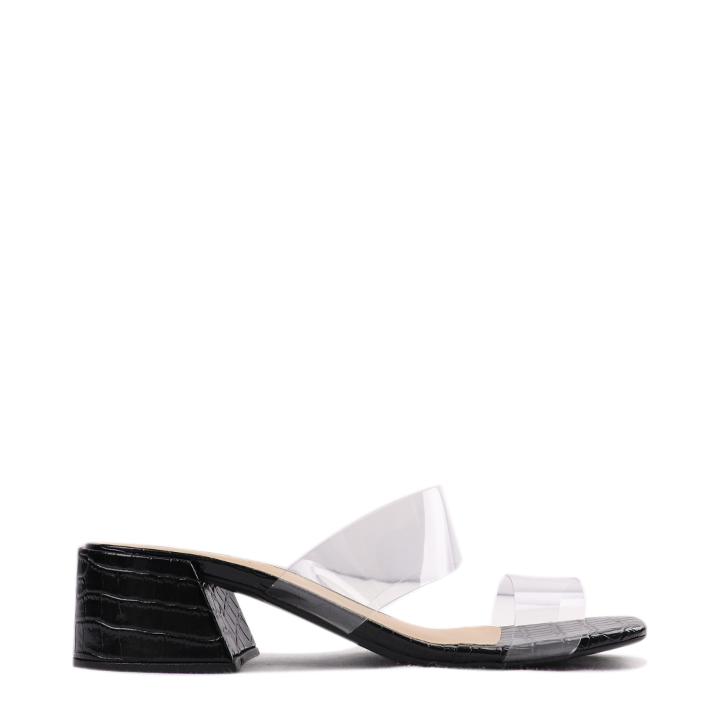 Sandália salto bloco croco com tiras transparentes