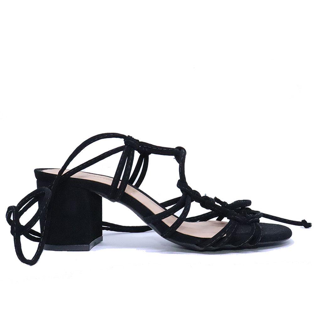 Sandália salto bloco de amarração suede preto