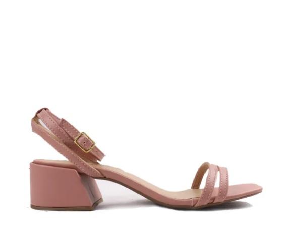 Sandália salto bloco tiras duplas frontais petala