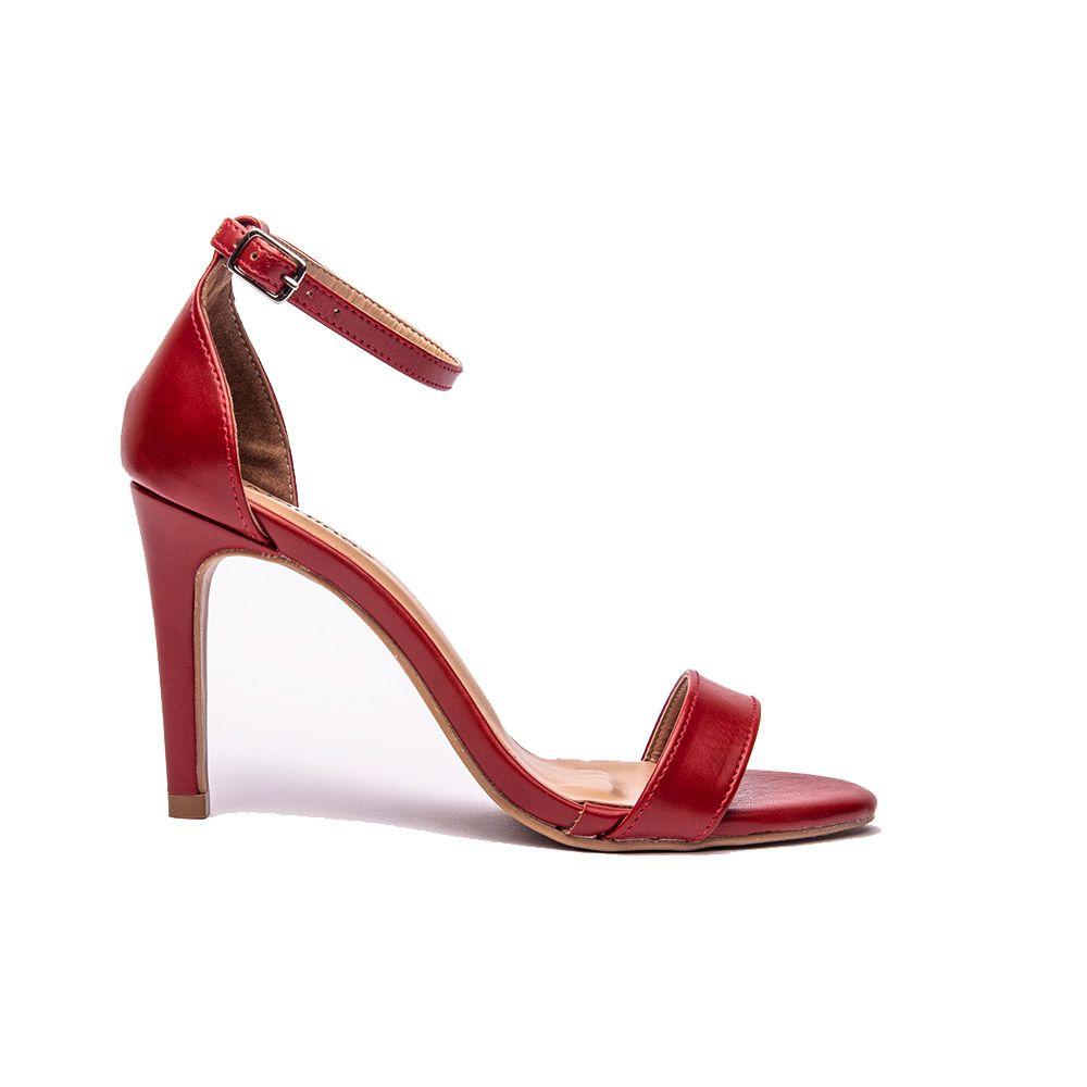 Sandália salto fino tira fina scarlet