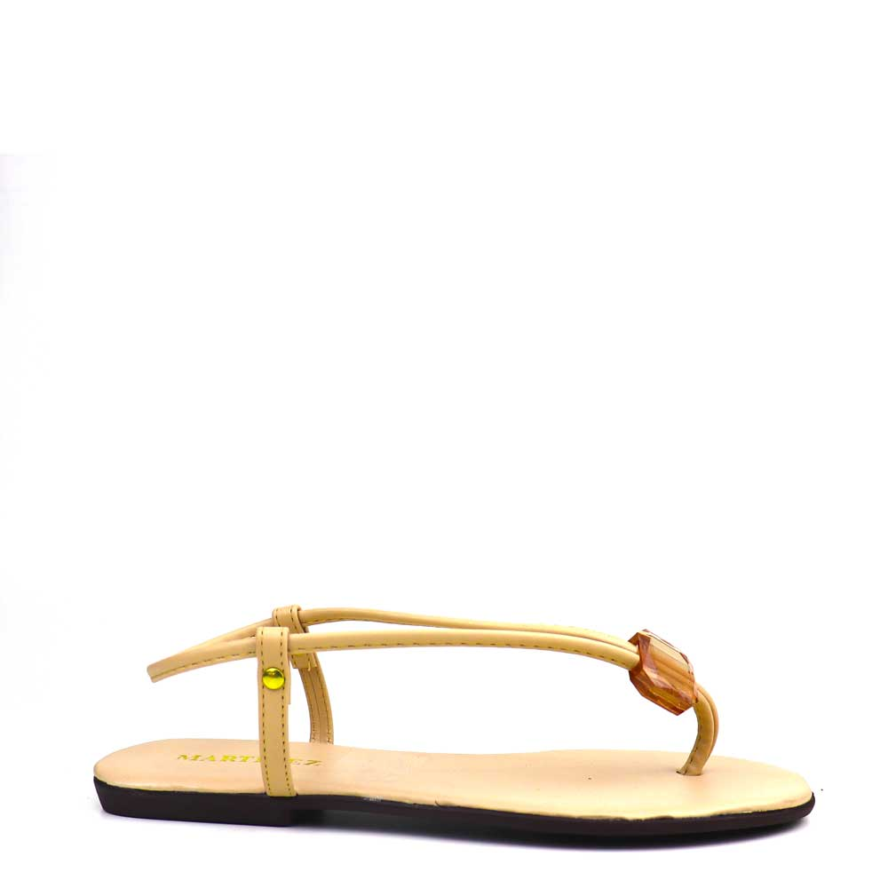Sandalia Salto rasteiro Amendoa