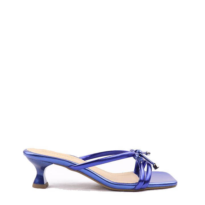 Sandália salto taça médio metalizado