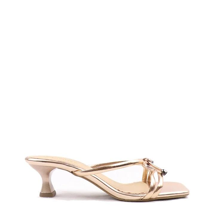 Sandália salto taça médio metalizado Light Pink
