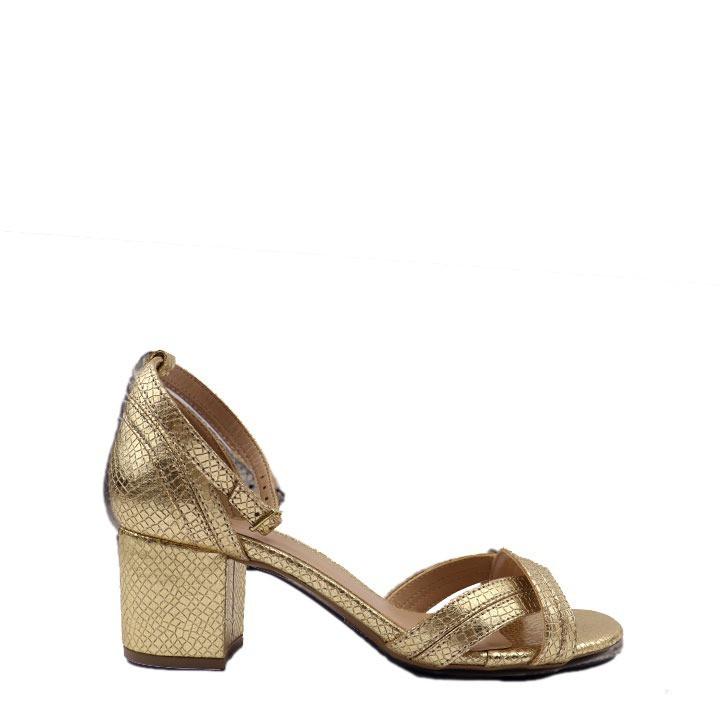 Sandália transpassada de salto bloco tulum ouro
