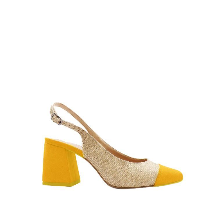 Scarpin chanel bico quadrado com salto flare amarelo