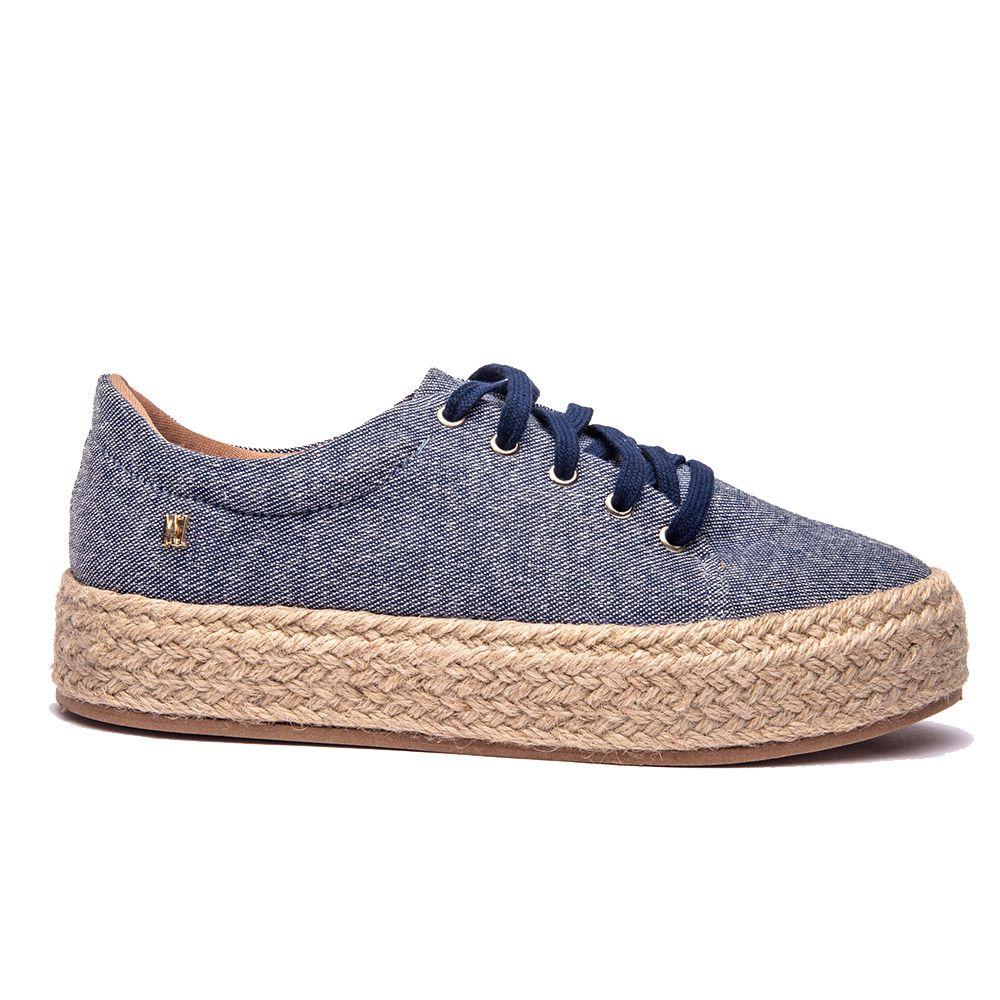Tênis flatform jeans azul marinho