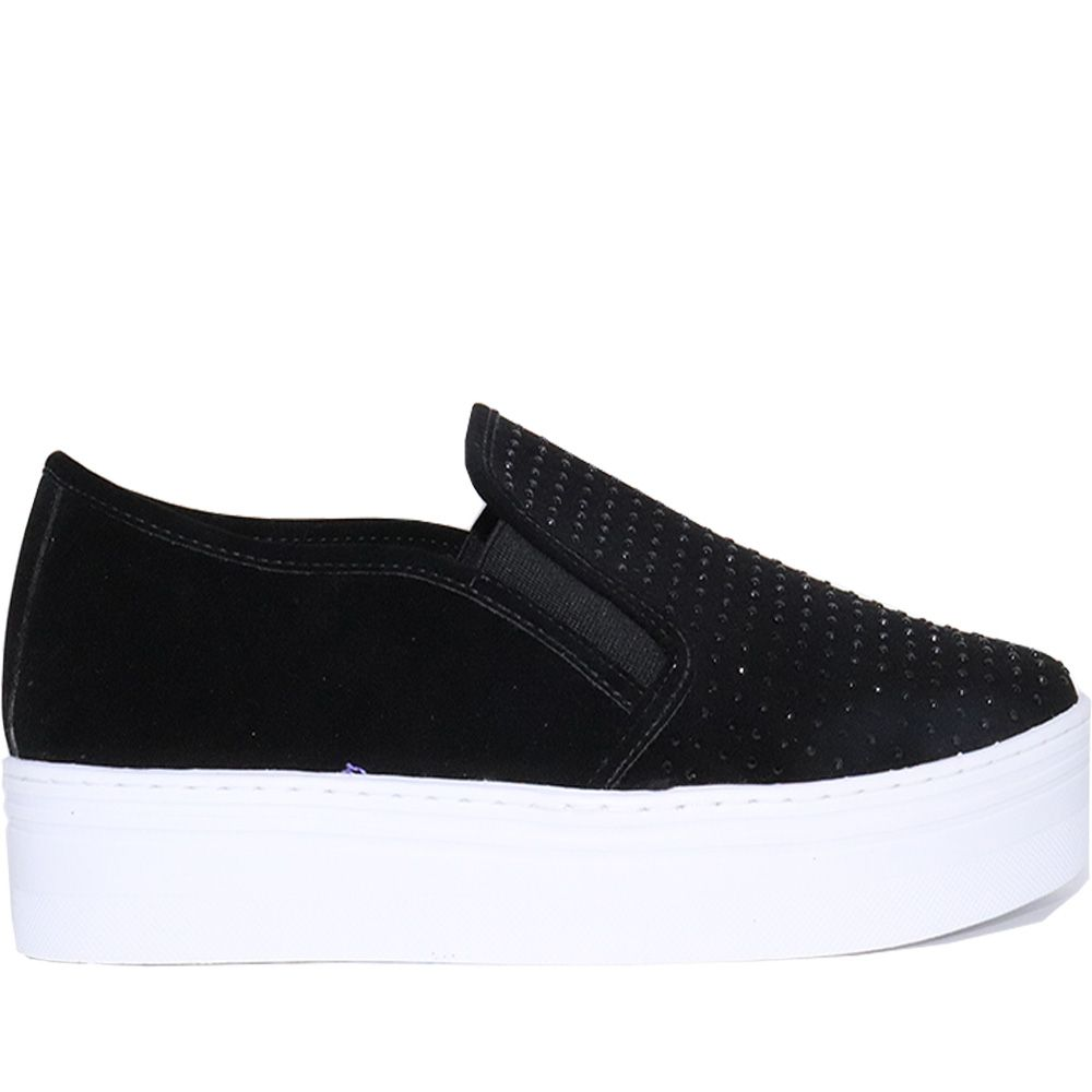 Tênis Slip On hotfix alpes preto solado alto.