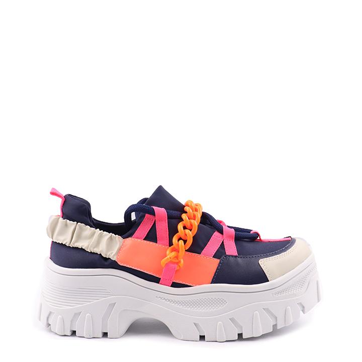 Tênis sneaker chunky de amarração multicor tira corrente