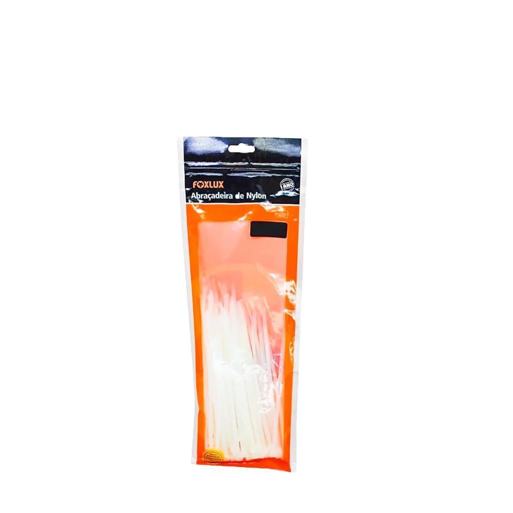 Abraçadeira de Nylon 280x3,5 Branca com 100 unidades Foxlux