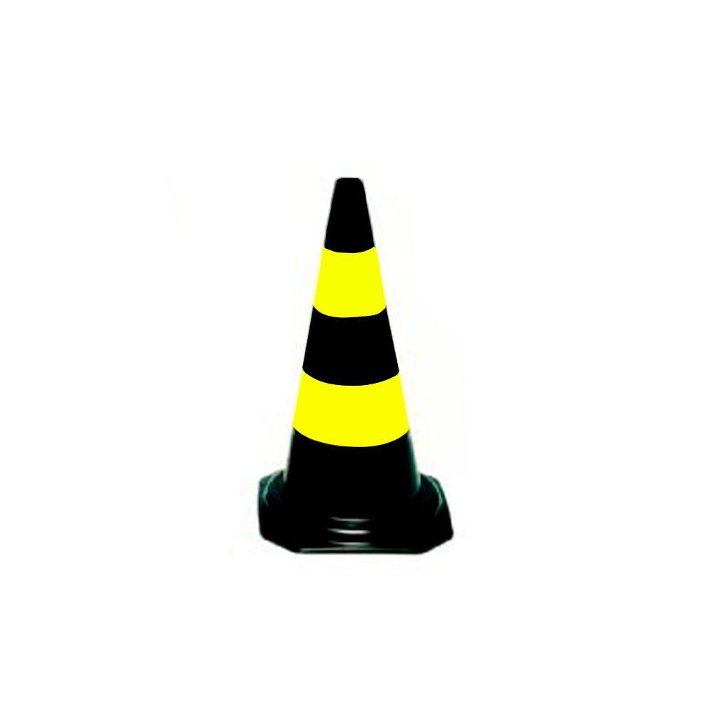 Cone Sinalização Preto/Amarelo 50CM CG Carbografite
