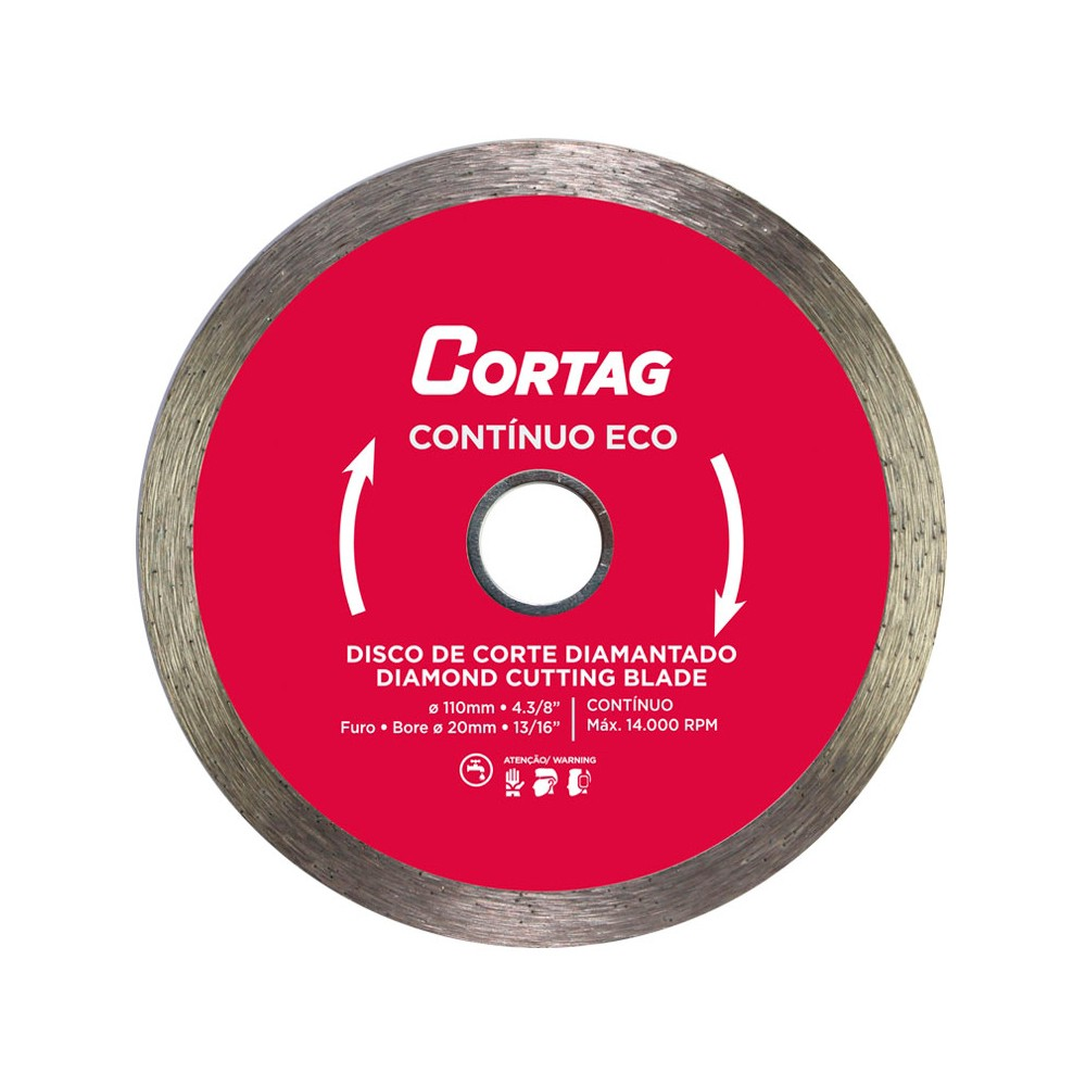 Disco de Corte Diamantado Contínuo Eco 110x20mm Cortag