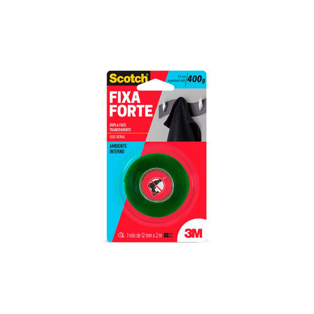 Fita Dupla Face 12mm x 2mts Fixa Forte  3M