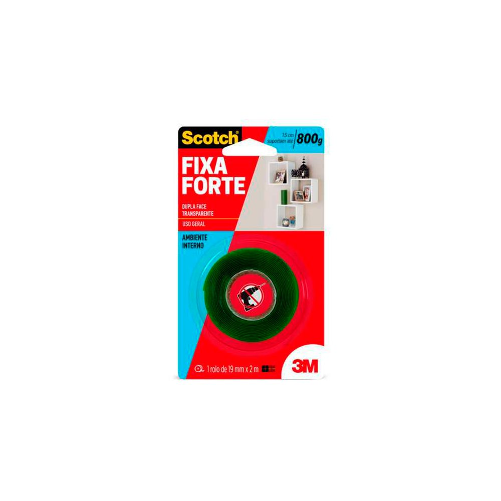 Fita Dupla Face 19mm x 2mts Fixa Forte 3M