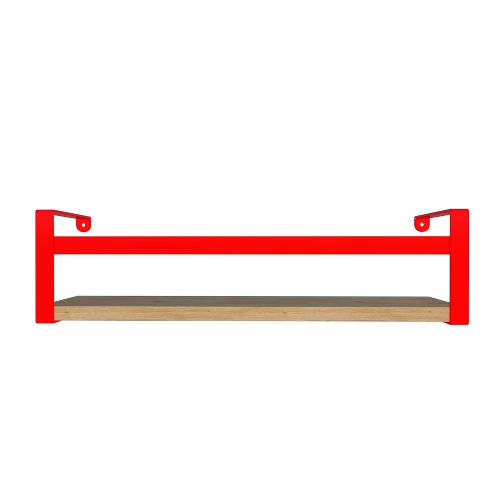 Prateleira Box Estilo 45cm Vermelha com Amadeirada Dicarlo