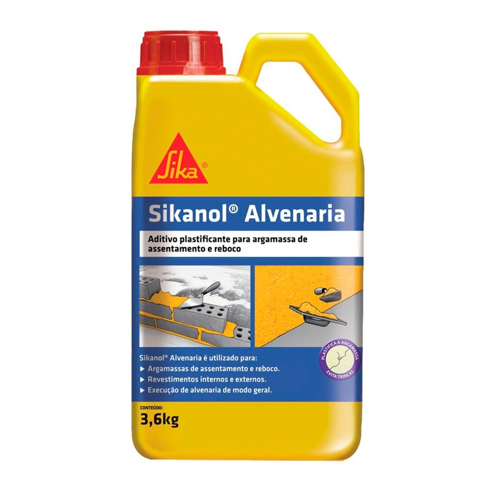 Sikanol Alvenaria Substitui O Barro 3,6 Litros Sika