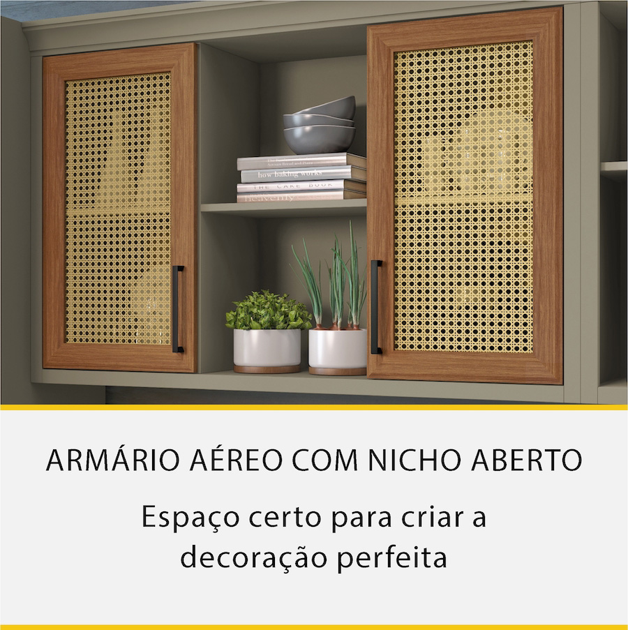 Armário Aéreo 2 Portas Rattan Nicho Nesher Camponesa 120cm 100% MDF