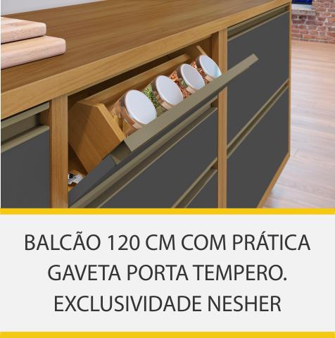 Balcão 1 Porta 4 Gavetas Nesher Baronesa 120cm 100% MDF