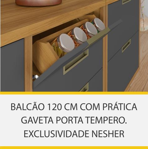 Balcão 1 Porta 4 Gavetas Nesher Imperatriz 120cm 100% MDF