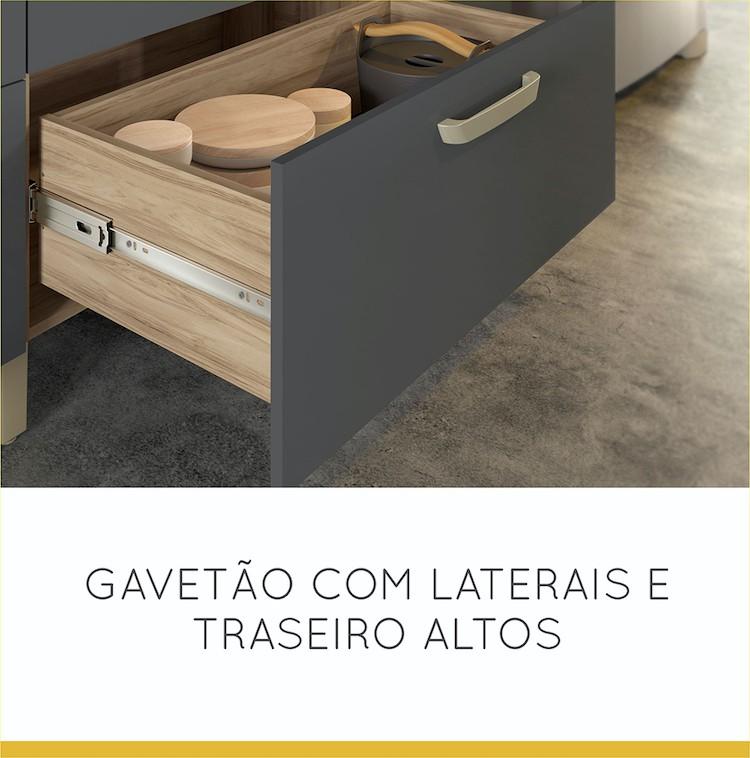Balcão 2 Portas 3 Gavetas Nesher Condessa 120 cm