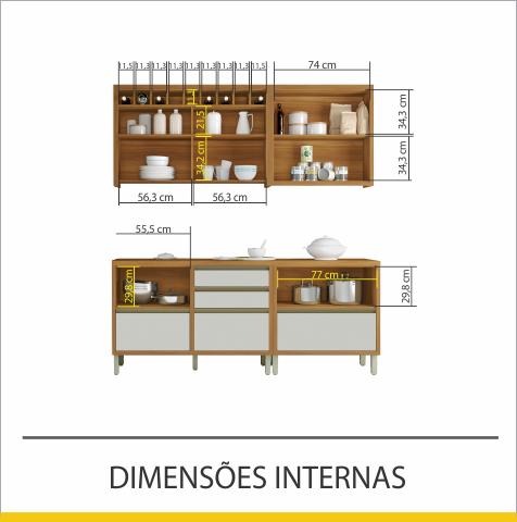 Cozinha 4 Peças Nesher Baronesa 100% MDF