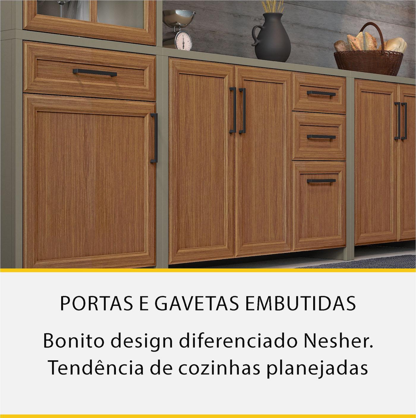 Cozinha 4 Peças Paneleiro Duplo Nesher Camponesa Ratan